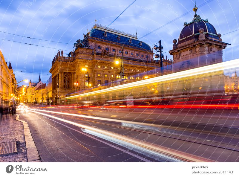 Prague at night (National Theatre) Luxury Elegant Vacation & Travel Tourism Sightseeing City trip Night life Going out Culture Event Night sky Czech Republic