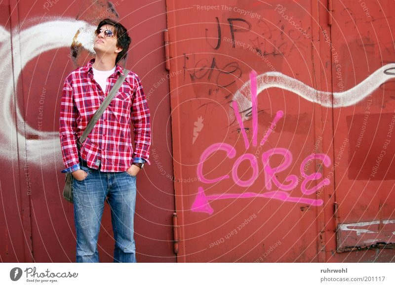 Core Human being Youth (Young adults) White Red 18 - 30 years Young man Adults Graffiti Art Pink Masculine Wait Eyeglasses Shirt Sunglasses Upward