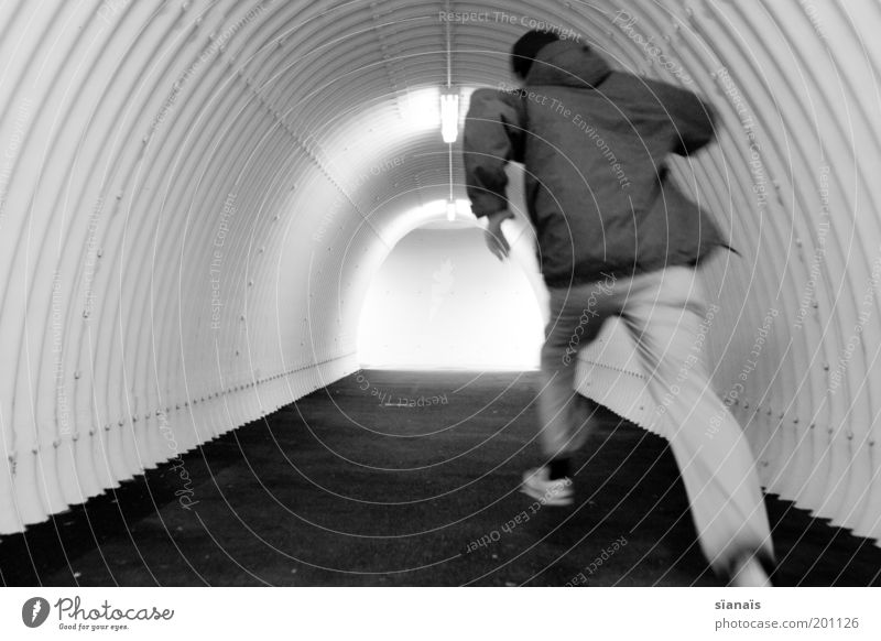 Run frood, run! Running Hope Fear Fear of the future Distress Escape Refugee Tunnel Pedestrian underpass Haste Stress Minimalistic Simple Silhouette Chase Panic