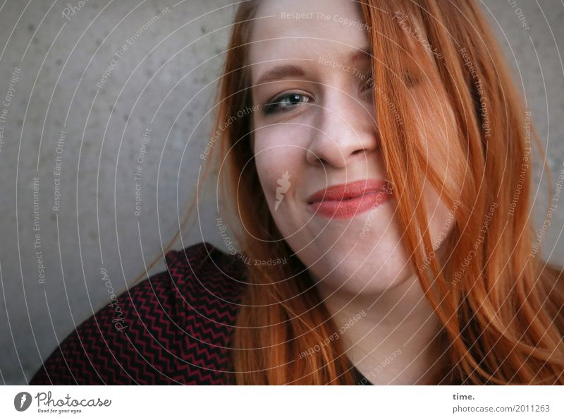 anastasia Feminine Woman Adults 1 Human being Wall (barrier) Wall (building) Sweater Red-haired Long-haired Part Observe Smiling Looking Friendliness Happiness