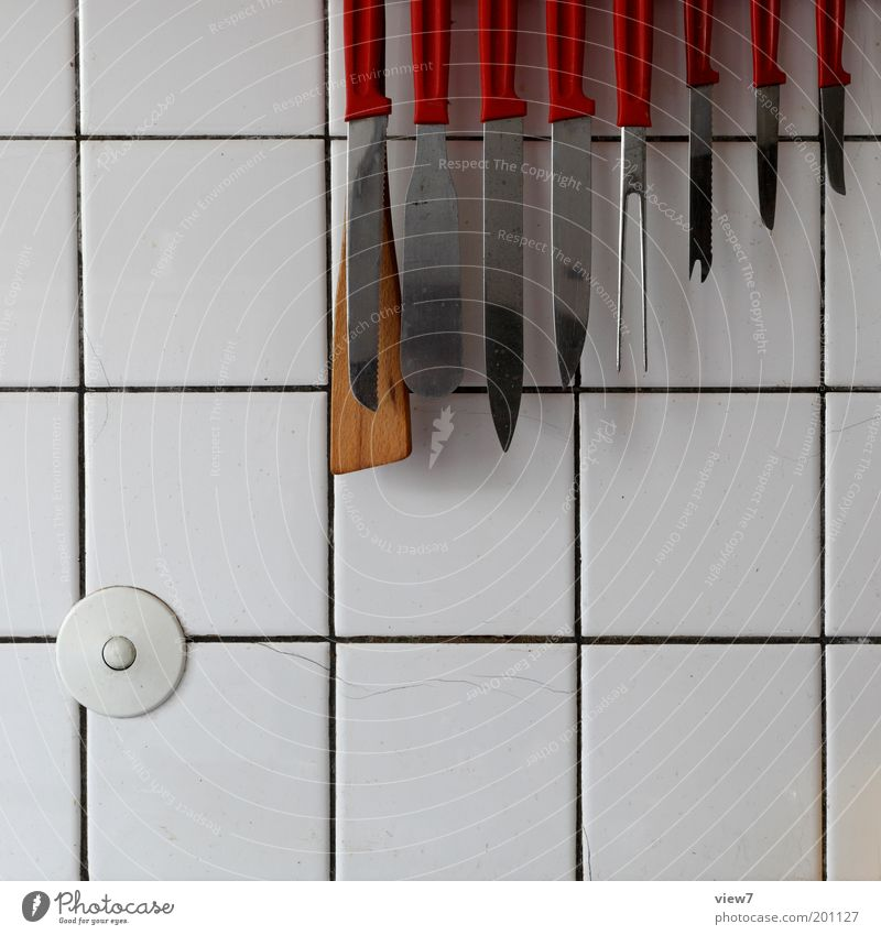 Old Red Line Kitchen Threat Pure Living or residing Uniqueness Tile Row Hang Tool Knives Workplace Room Seam