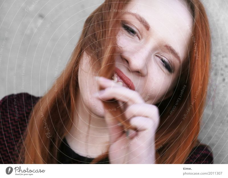 . Feminine Woman Adults 1 Human being Wall (barrier) Wall (building) Sweater Red-haired Long-haired To hold on Laughter Looking Happiness Beautiful Emotions Joy