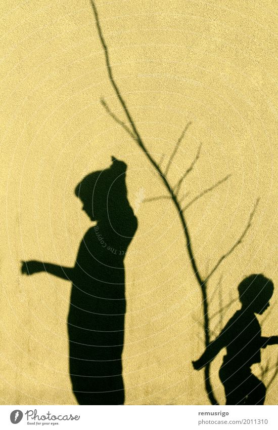 Shadows of children Playing Child Boy (child) Family & Relations Friendship Infancy Together Black background kids Scene two wall Colour photo Exterior shot