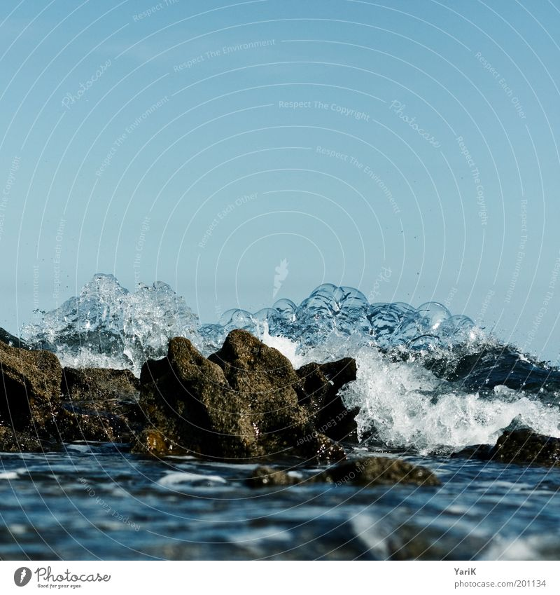 Sky Blue Water Summer Ocean Coast Stone Waves Wind Rock Wet Drops of water Elements Storm Bay Gale