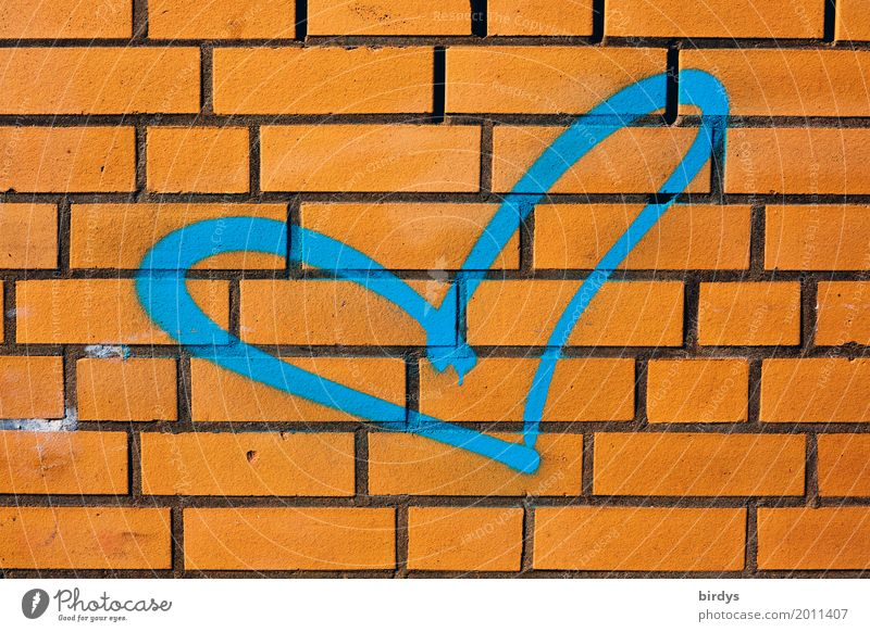 blue love Wall (barrier) Wall (building) Brick wall Sign Graffiti Heart Esthetic Authentic Friendliness Fresh Positive Blue Orange Love Infatuation Humanity
