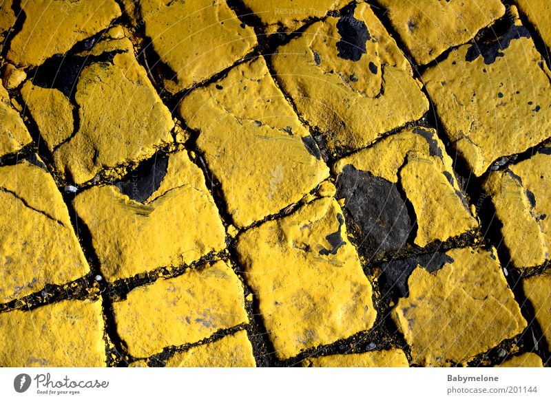 cobblestone layers Pedestrian precinct Street Lanes & trails Old Yellow Zebra crossing Second-hand Paving stone Colour photo Exterior shot Detail Deserted Day