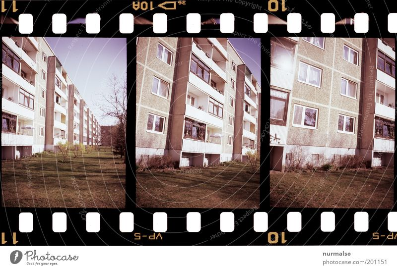 Old City House (Residential Structure) Window Grass Facade Film Gloomy Leisure and hobbies Living or residing Analog Trashy Balcony GDR Nostalgia Hideous
