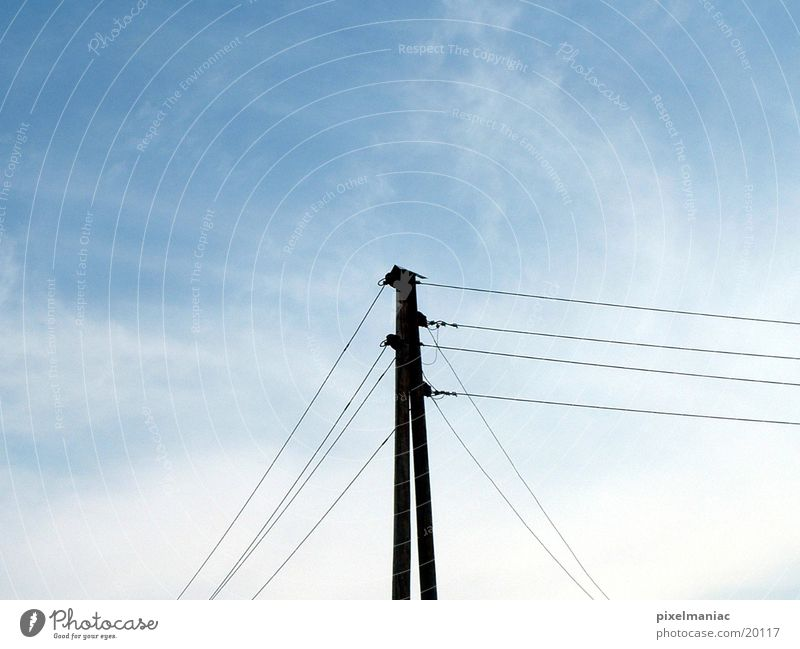 power pole Electricity Electrical equipment Technology Electricity pylon Sky Transmission lines Cable