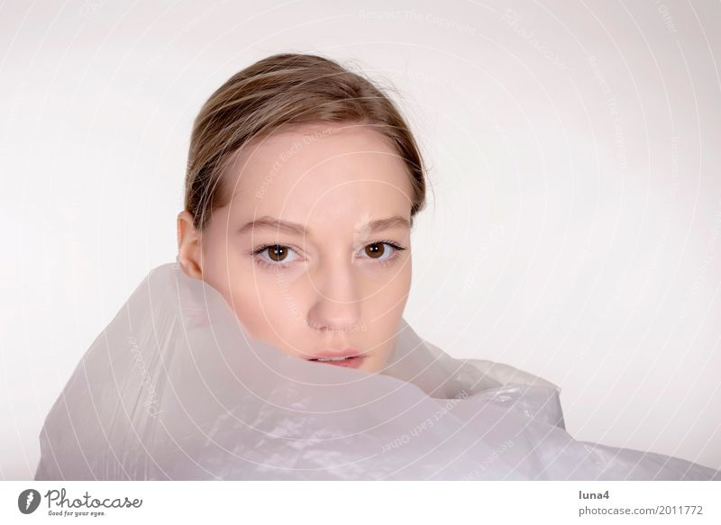 young woman with foil Young woman Youth (Young adults) Woman Adults Head 1 Human being 18 - 30 years Blonde Dream Sadness Protection Concern Grief Fear Distress