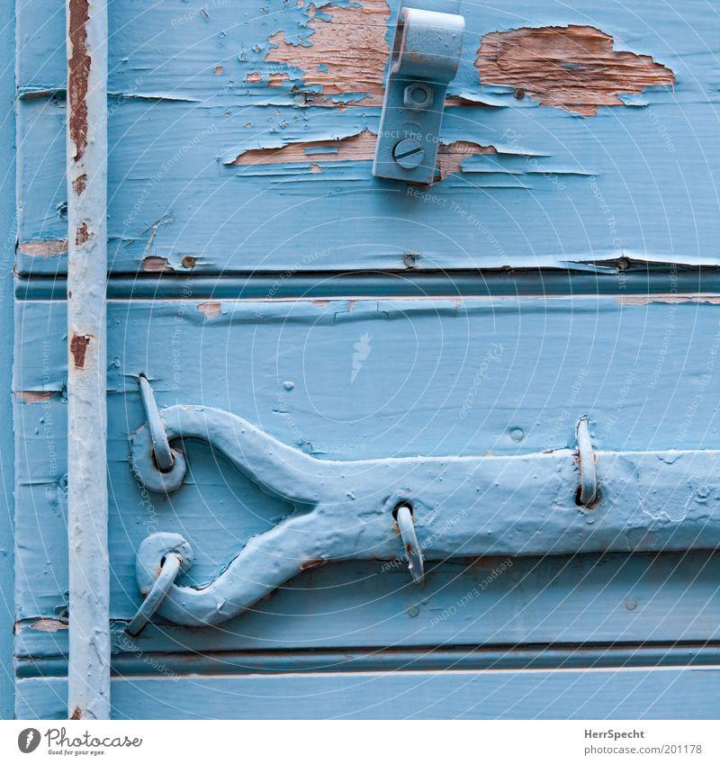 Old Blue Wood Dye Metal Transience Firm Decline Rust Varnish Shutter Flake off Material Light blue Metal fitting