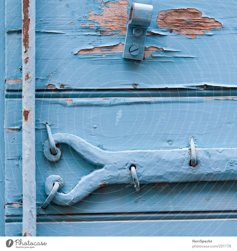 Provencal blue Shutter Metal fitting Wood Rust Old Blue Decline Transience Light blue Flake off Varnish Dye Colour photo Exterior shot Close-up Detail