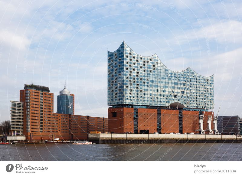 Elbphilharmonie and Speicherstadt Vacation & Travel Sightseeing City trip Architecture Culture Sky Beautiful weather River Elbe Hamburg Port City Harbour