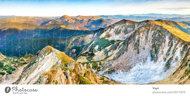 Panorama of mountains at sunset Sky Nature Vacation & Travel Blue Summer Colour Beautiful Green White Landscape Red Clouds Far-off places Winter Mountain