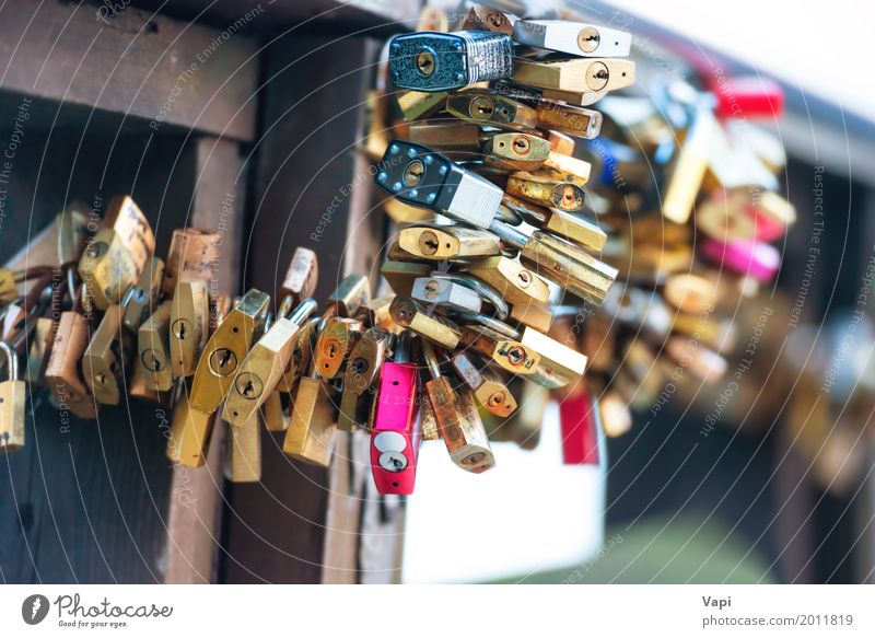 Many love locks on the bridge Vacation & Travel Blue Town White Red Black Architecture Life Yellow Love Emotions Art Tourism Metal Trip Modern