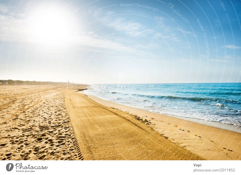 Long coastline, beach with sand Sky Nature Vacation & Travel Blue Summer Water White Sun Landscape Ocean Clouds Far-off places Beach Yellow Spring Lanes & trails