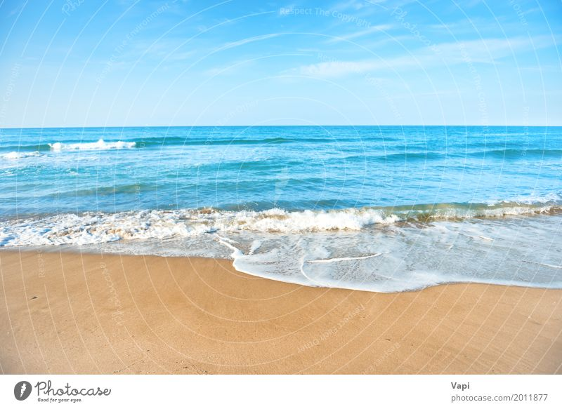 Tropical beach with sand and sea wave Sky Nature Vacation & Travel Blue Summer Water White Sun Landscape Ocean Relaxation Clouds Beach Yellow Spring Natural