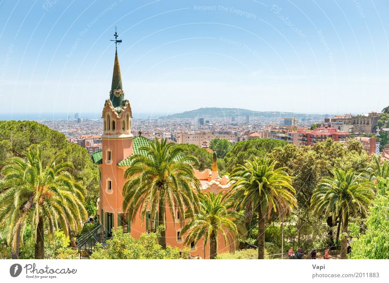 Museum of Antoni Gaudi in park Guell Sky Nature Vacation & Travel Plant Blue Summer Town Beautiful Green White Tree Landscape Red House (Residential Structure)