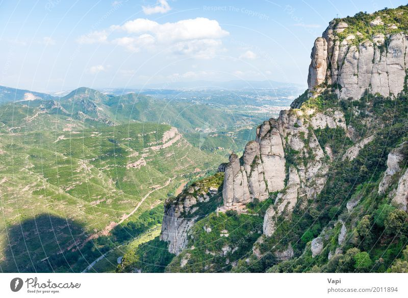 Landscape with rocks on famous Montserrat mountain Sky Nature Vacation & Travel Blue Summer Green White Tree Clouds Far-off places Forest Mountain