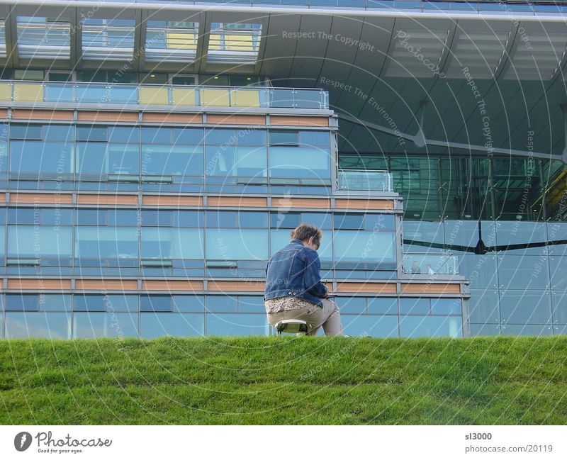 turf hub Places Grass Woman Potsdam Lawn Berlin Painting (action, work) Draw