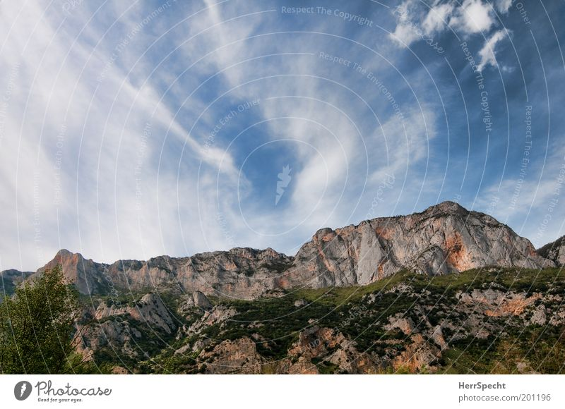 be(rg)moving Environment Nature Landscape Sky Clouds Beautiful weather Rock Mountain Pyrenees Peak Large Blue Brown Gray Green White Cirrus Wall of rock