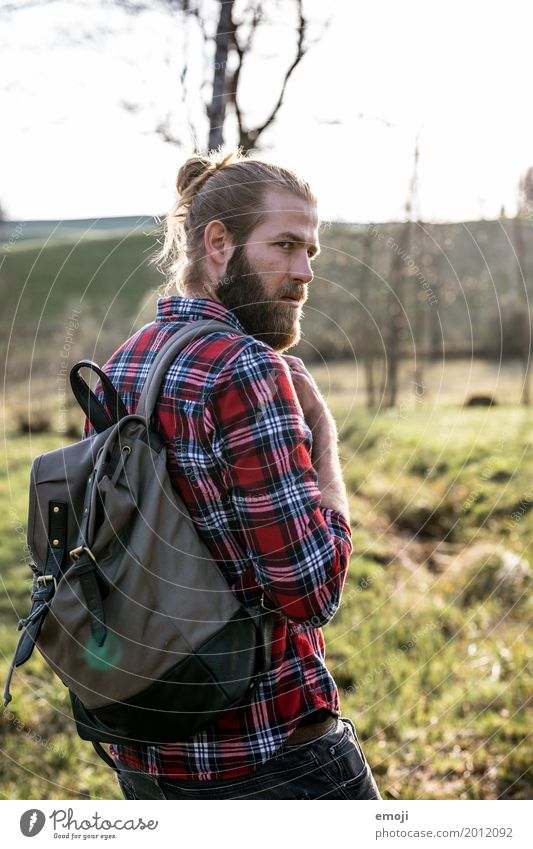 Human being Nature Youth (Young adults) Man Young man 18 - 30 years Adults Environment Natural Masculine Hiking Beautiful weather Cool (slang) Backpack Hipster