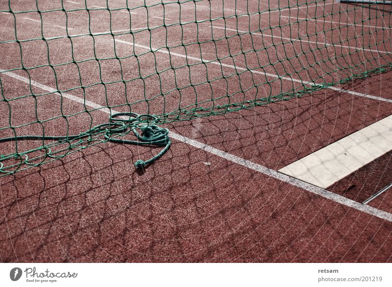 sports field Sports Track and Field Sporting Complex Net Red Colour photo Subdued colour Exterior shot Deserted Morning Light Shadow Sunlight