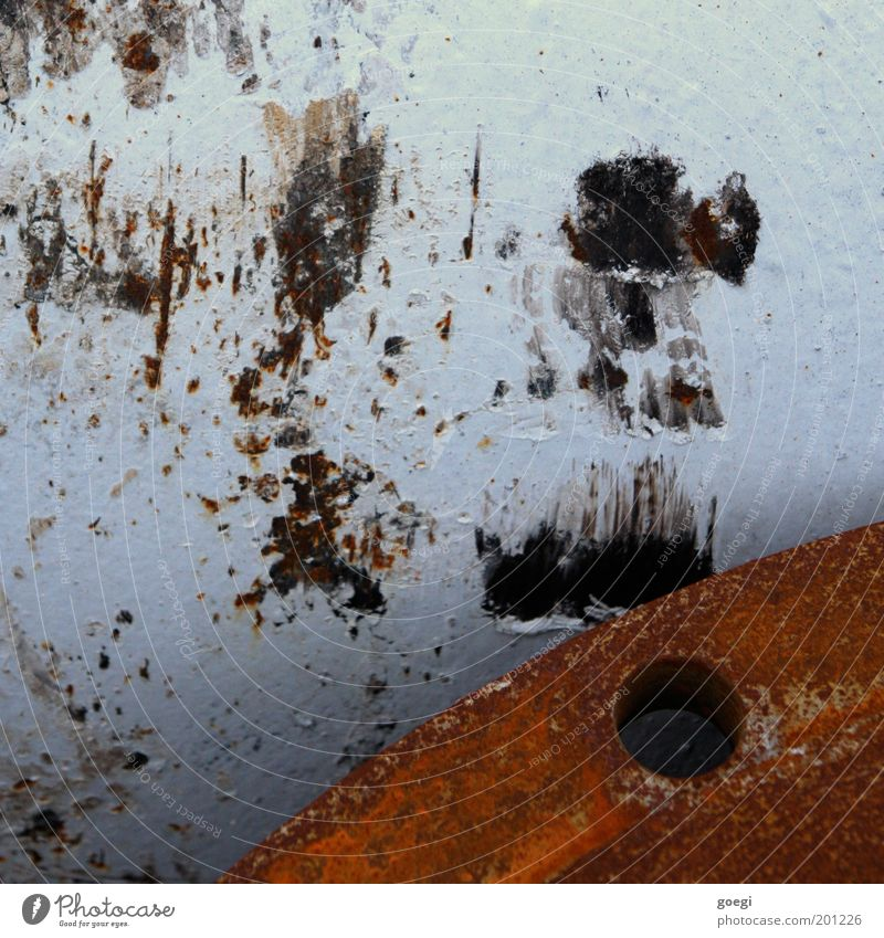 rusty Drainpipe Old Destruction Rust Scratch mark Hollow Varnish Damage Pipe Colour photo Detail Deserted Day Metal Construction site Industry