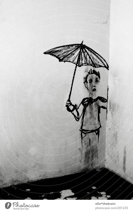 Human being Child Wall (building) Graffiti Infancy Masculine Umbrella Pain Black & white photo Germany Copy Space left Weather protection Neukölln