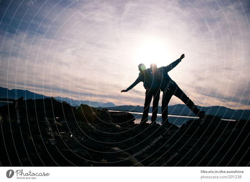 Woman Human being Sky Man Blue Joy Winter Black Yellow Mountain Happy Laughter Adults Lake Couple Friendship