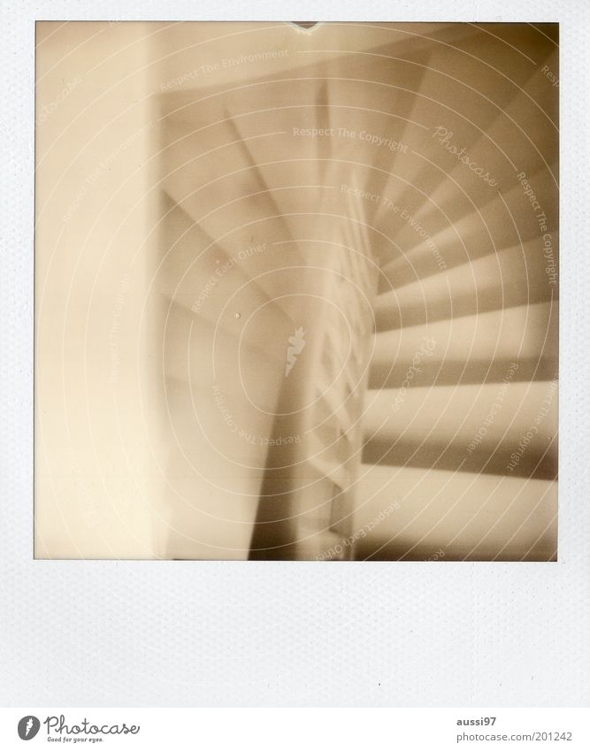 arbogast Stairs Descent Downward Upward Banister Black & white photo Polaroid Blur Dream Staircase (Hallway)