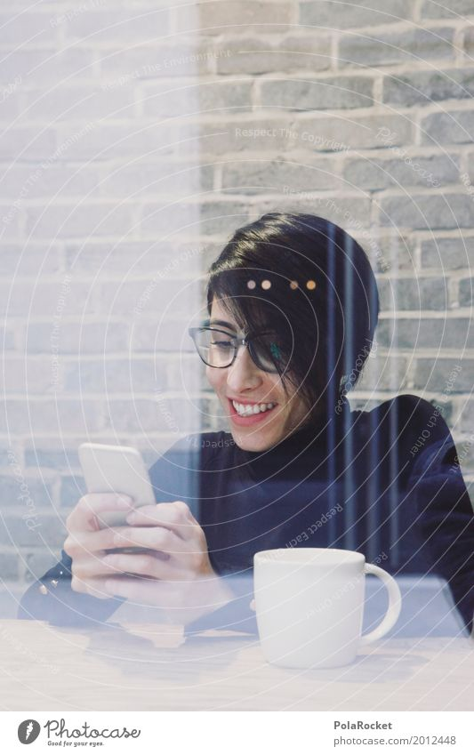Woman Hand Joy Laughter Art Work and employment Esthetic Communicate Telecommunications Smiling Break Coffee Cellphone Work of art To have a coffee Coffee break
