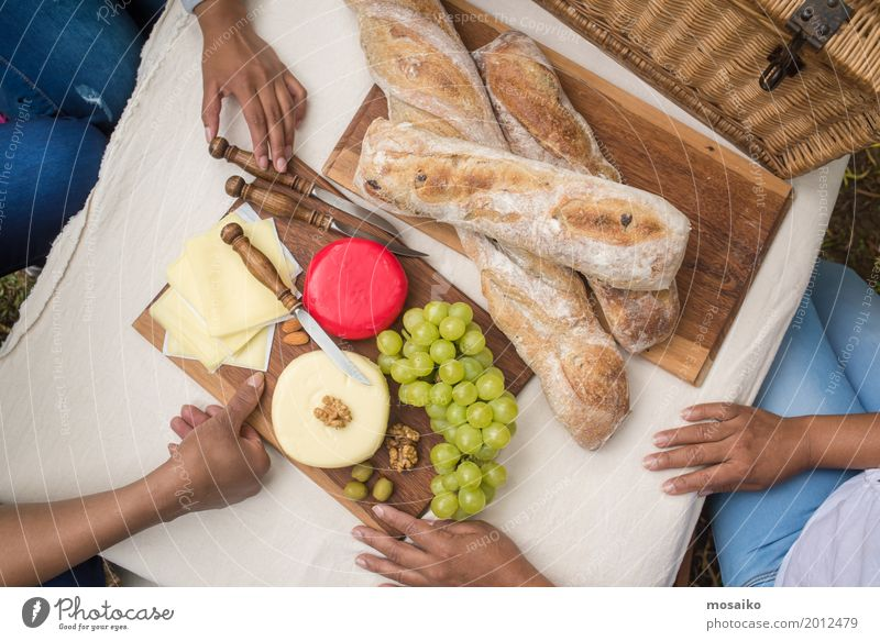 Picnic in the garden Food Cheese Fruit Dough Baked goods Bread Nutrition Breakfast To have a coffee Buffet Brunch Vegetarian diet Summer Feminine Woman Adults