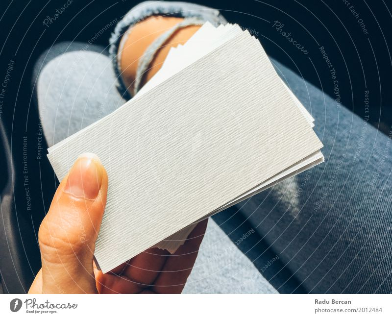 Young Woman Holding White Blank Business Cards Human being Woman Youth (Young adults) Blue Young woman Colour Beautiful White Hand Girl 18 - 30 years Adults Feminine Style Business Fashion