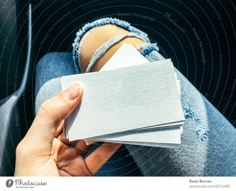 Young Woman Holding White Blank Business Cards Human being Youth (Young adults) Blue Young woman Town Colour Beautiful Hand Girl 18 - 30 years Adults Feminine
