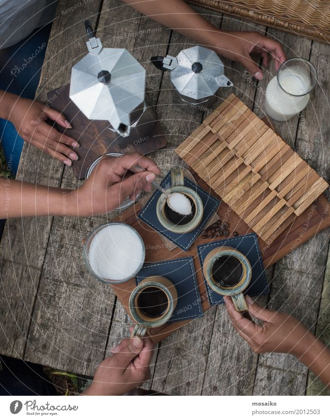 Human being Woman Summer Hand Joy Adults Lifestyle Style Wood Freedom Friendship Leisure and hobbies To enjoy Beverage Coffee Drinking
