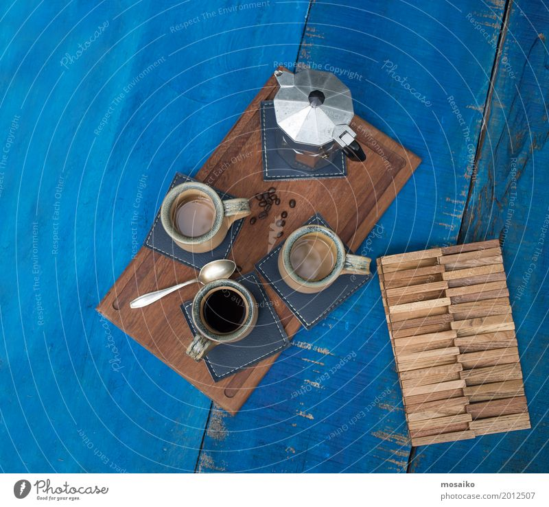 Coffee cups on a blue table Breakfast To have a coffee Buffet Brunch Italian Food Beverage Hot drink Espresso Lifestyle Design Summer To enjoy Drinking Esthetic