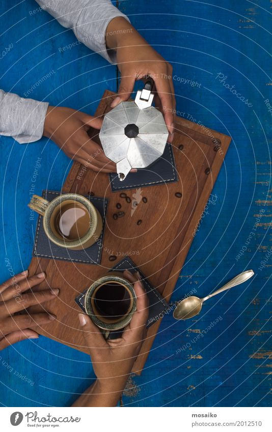 coffee break Breakfast To have a coffee Beverage Coffee Espresso Design Summer Human being To enjoy Communicate To talk Drinking Spring fever Agreed Sympathy