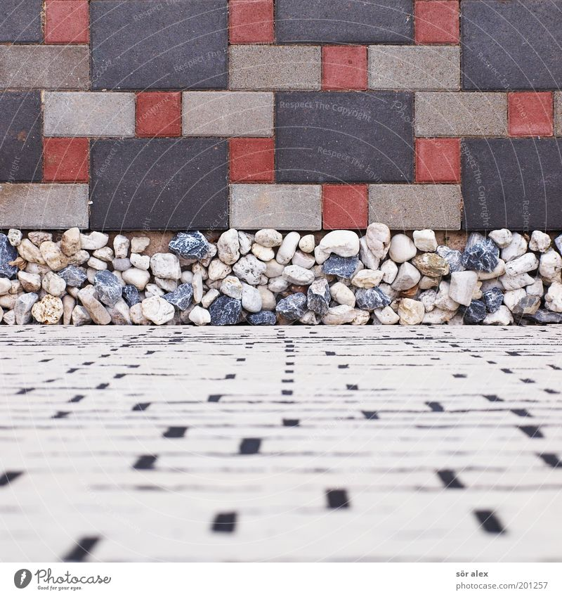 White Blue Red Black Wall (building) Gray Stone Wall (barrier) Architecture Facade Arrangement Clean Firm Tile Square Brick