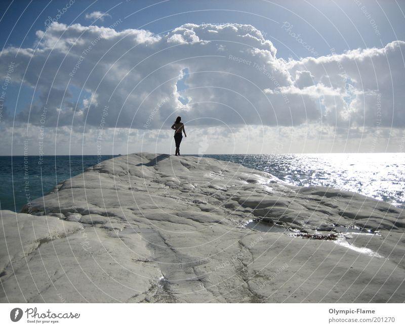 Woman Nature Water Sky White Sun Ocean Blue Beach Clouds Relaxation Landscape Coast Horizon Rock Vantage point
