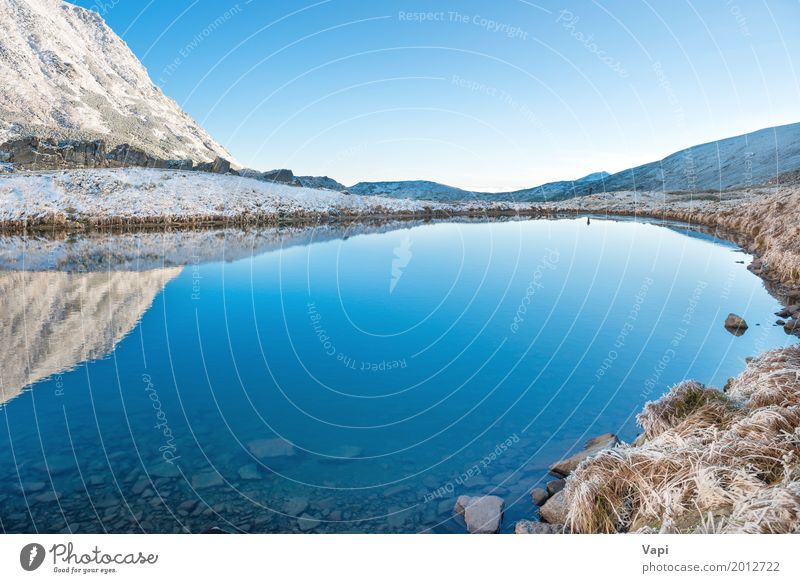 Beautiful blue lake in the mountains, morning sunrise time Sky Nature Vacation & Travel Blue Summer Water White Landscape Winter Beach Mountain Yellow Spring Natural Snow Grass