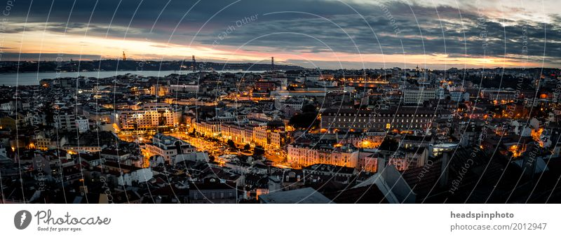 Panorama of Lisbon after sunset Shopping Vacation & Travel Tourism Trip Adventure Sightseeing City trip Summer vacation Clouds Night sky Beautiful weather River
