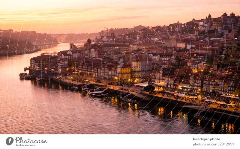 Panorama of Porto and the Duoro at sunset Vacation & Travel Tourism Trip Summer vacation Clouds Sunlight River bank Portugal Downtown Old town Skyline