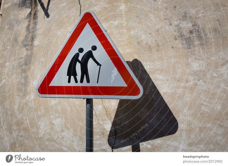 Warning sign: Attention! Old people cross the street Woman Adults Man Female senior Male senior Parents Grandparents Senior citizen Grandfather Grandmother