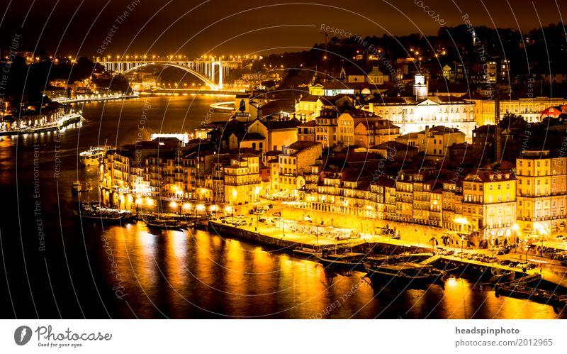 City view of Porto at night Shopping Vacation & Travel Tourism Sightseeing Summer Summer vacation Portugal Port City Downtown Old town Skyline Facade