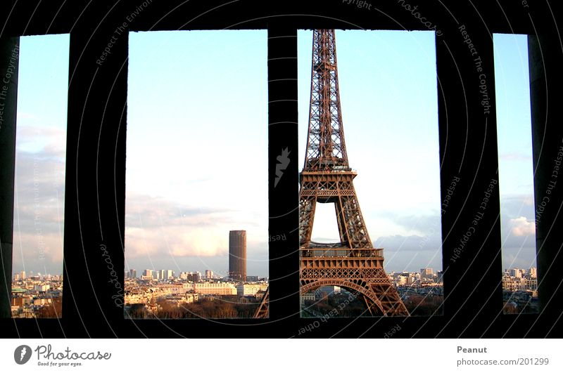 BLICKWINKEL Vacation & Travel Tourism Sightseeing City trip Paris France Capital city Downtown Manmade structures Architecture Eiffel Tower Window
