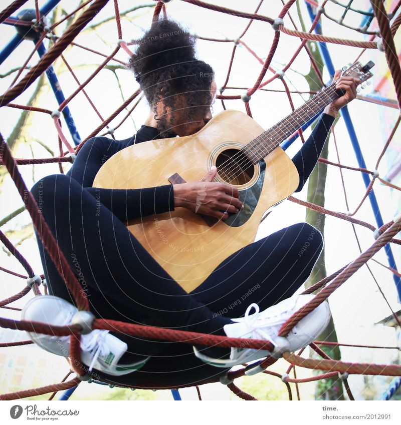 Music | Ghetto Network Climbing facility Feminine Woman Adults 1 Human being Musician Guitar T-shirt Pants Sneakers Hair and hairstyles Black-haired Long-haired