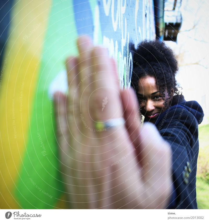 Human being Woman Beautiful Hand Adults Life Wall (building) Graffiti Feminine Wall (barrier) Happy Hair and hairstyles Communicate Authentic Smiling