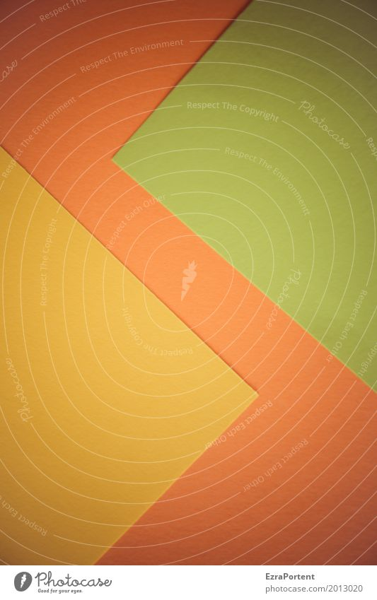 zigzag Style Design Handicraft Decoration Paper Yellow Green Orange Esthetic Colour Advertising Background picture Zigzag Point Structures and shapes Copy Space