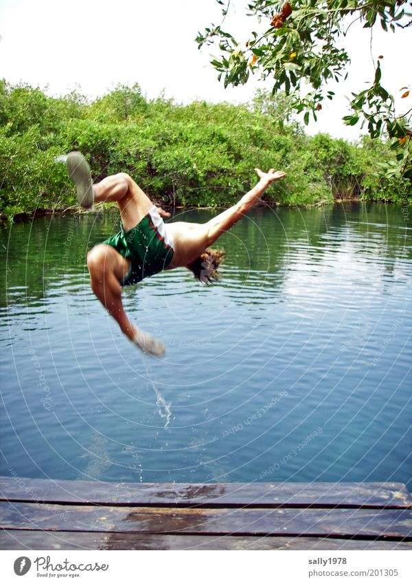 Jump into the cool water Elegant Joy Happy Life Swimming & Bathing Leisure and hobbies Tourism Trip Freedom Summer Summer vacation Human being Masculine