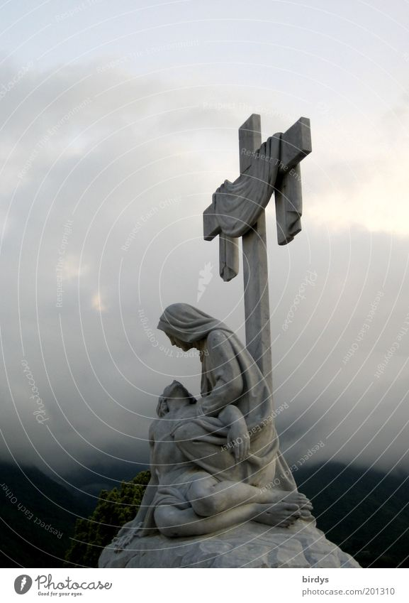 Clouds Heaven Death Stone Sadness Religion and faith Fog Hope Grief Peace Christian cross Statue Sculpture Mystic Belief Crucifix